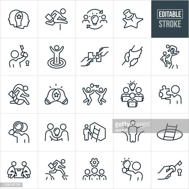 business solutions thin line icons - bearbeitbarer strich - innovation stock-grafiken, -clipart, -cartoons und -symbole