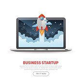 Business start up concept template with realistic laptop