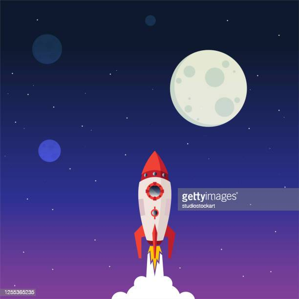 business start up, rocket launch up to the space. - satellite view stock illustrations