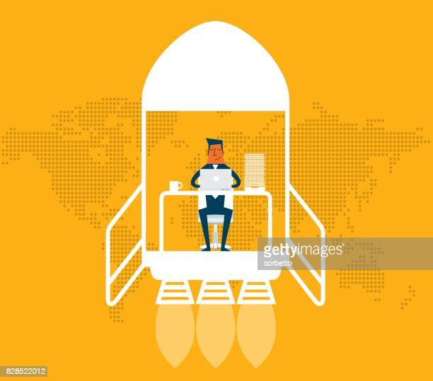 business startup - businessman - using laptop stock illustrations
