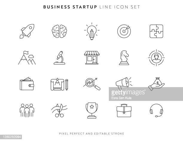 illustrazioni stock, clip art, cartoni animati e icone di tendenza di icona di avvio aziendale impostata con tratto modificabile e pixel perfetto. - nuova impresa
