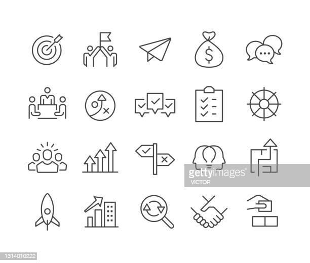 illustrazioni stock, clip art, cartoni animati e icone di tendenza di icone di avvio aziendale - serie linea classica - gruppo di oggetti