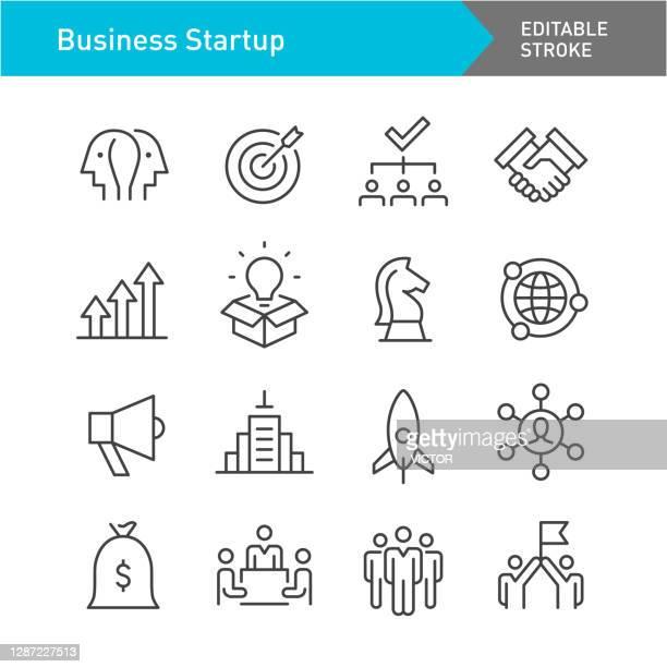 illustrazioni stock, clip art, cartoni animati e icone di tendenza di icone di avvio aziendale - serie linea - tratto modificabile - gruppo di oggetti