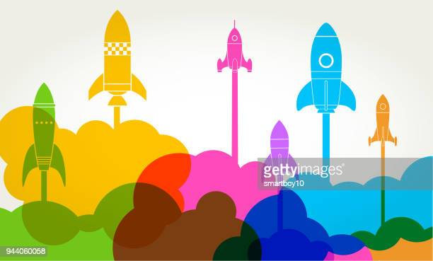 business startup launch rocket - launch event stock illustrations