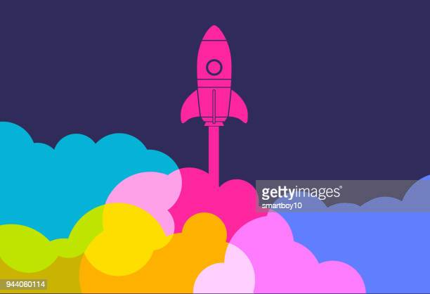 business startup launch rocket - achievement stock illustrations, clip art, cartoons, & icons