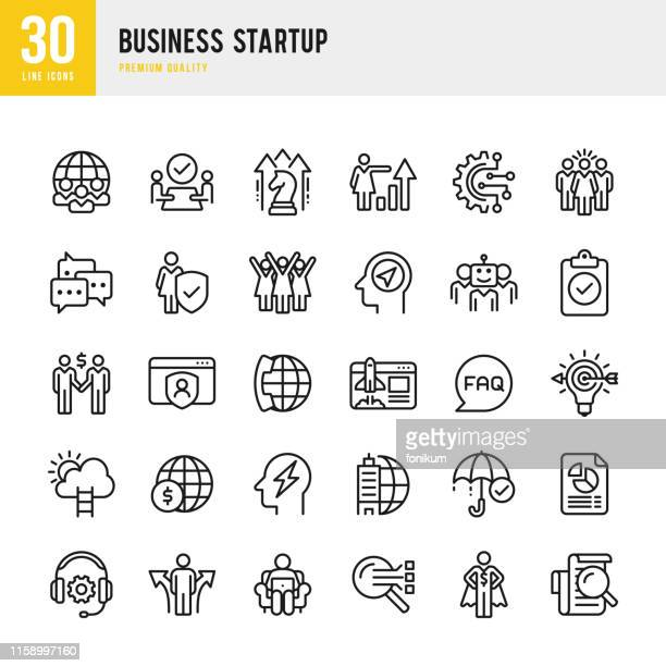 business startup - line vector icon set - q and a stock illustrations
