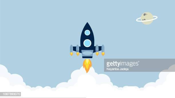 existenzgründung, rakete starten, space shuttle start vektor - stapellauf stock-grafiken, -clipart, -cartoons und -symbole