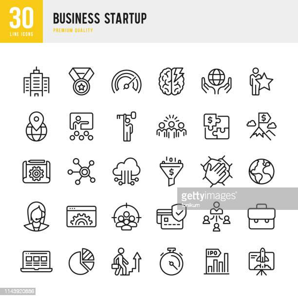 business startup - set of line vector icons. - solution stock illustrations