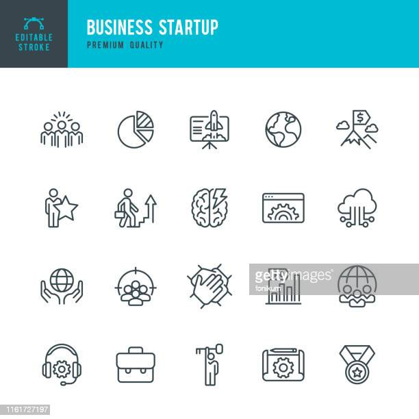 business startup -  vector line icon set - partnership stock illustrations