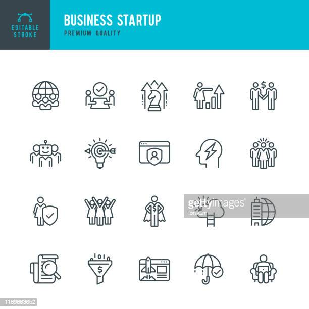 business startup - vector line icon set - new business stock illustrations