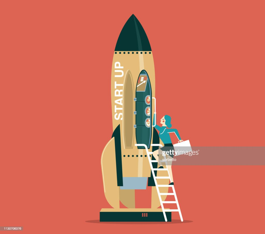 Business startup with space rocket - Businesswoman : stock illustration