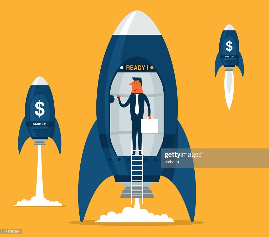Business startup with space rocket