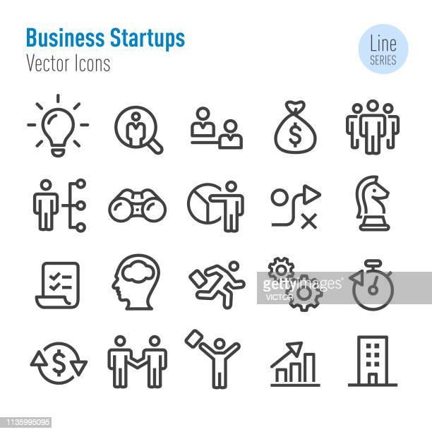 business startups icons-vector line series - unternehmer stock-grafiken, -clipart, -cartoons und -symbole