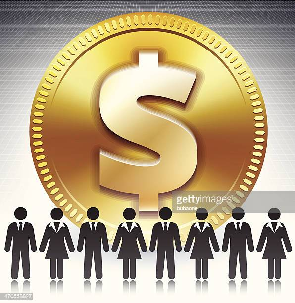 business stick figure team on gold dollar coin - fiscal year stock illustrations