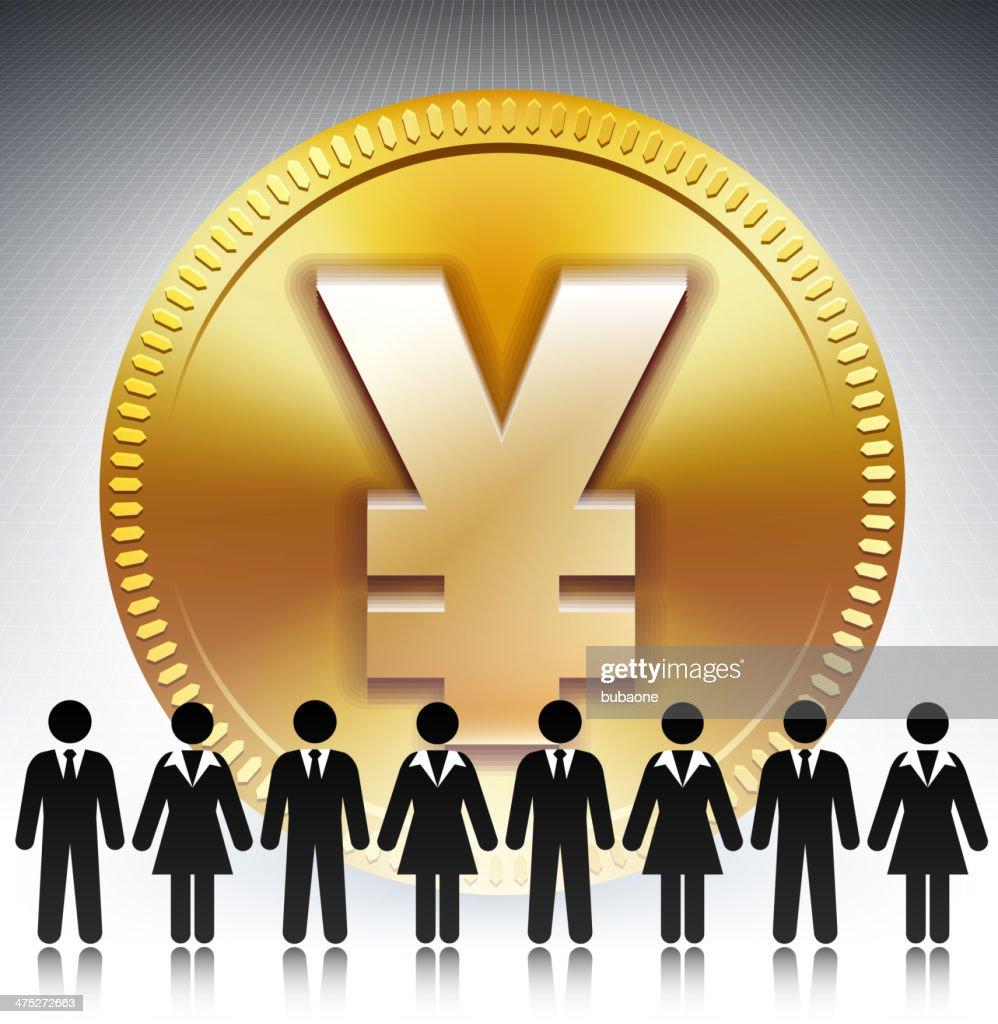 Business Stick Figure Team on Gold Yen Coin
