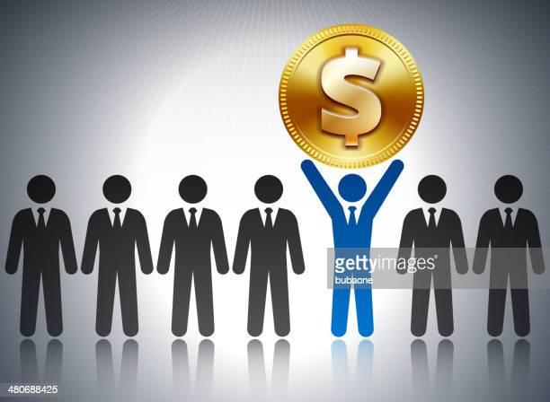 ilustrações, clipart, desenhos animados e ícones de números de sucesso nos negócios com moeda dólar - reforma assunto
