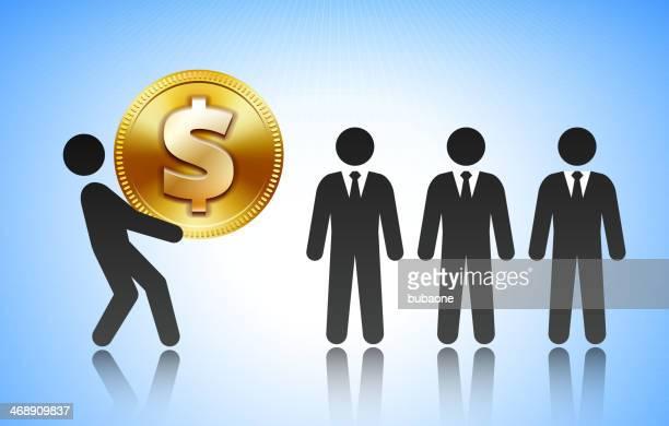 ilustrações, clipart, desenhos animados e ícones de trabalho stick figura levantamento moeda dólar - reforma assunto