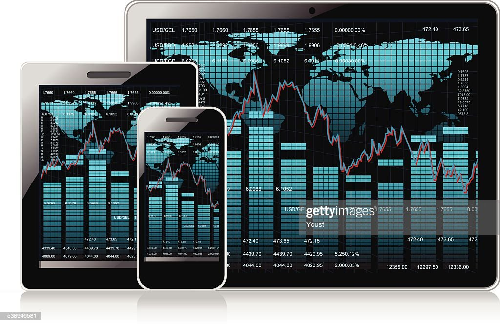Business Stock Market on Mobile Devices : stock illustration