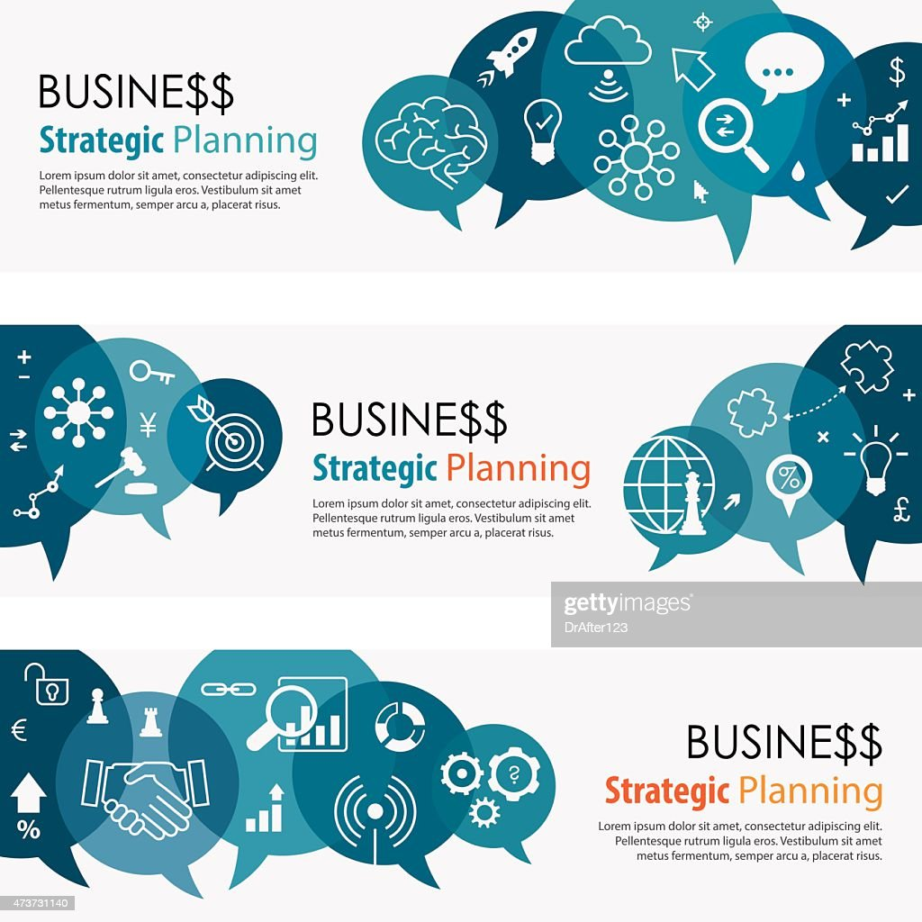 Business Strategic Planning Banners And Icon Set