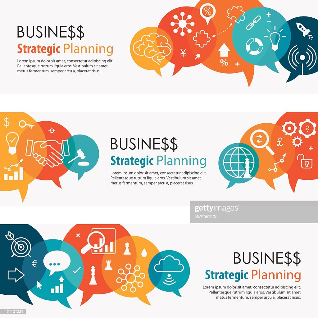 Business Strategic Planning Vibrant Banners And Icon Set