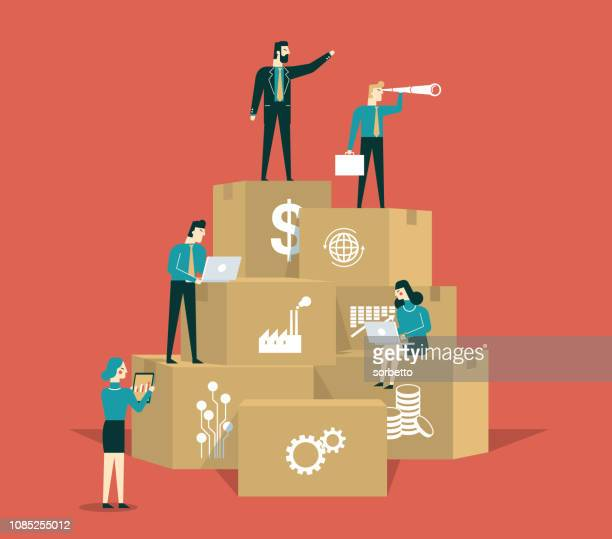 business strategy - business people - leadership stock illustrations