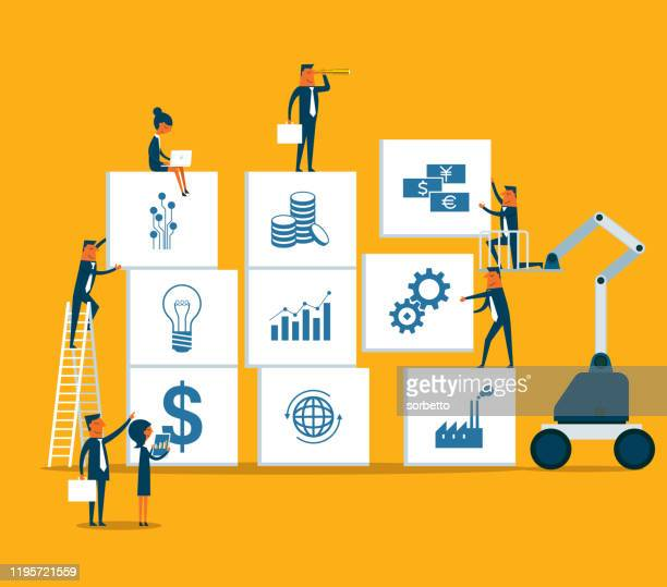 business strategy - business people - brainstorming stock illustrations
