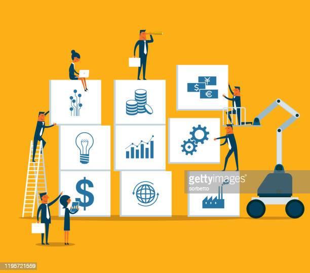 事業戦略 - ビジネス人材 - ブレーンストーミング点のイラスト素材/クリップアート素材/マンガ素材/アイコン素材
