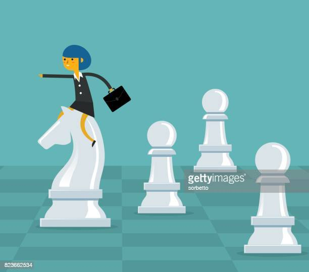 ilustraciones, imágenes clip art, dibujos animados e iconos de stock de estrategia empresarial - empresaria - tablero de ajedrez