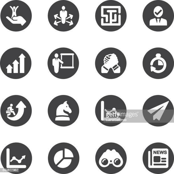 Estratégia de negócio círculo ícones/EPS10 silhueta de