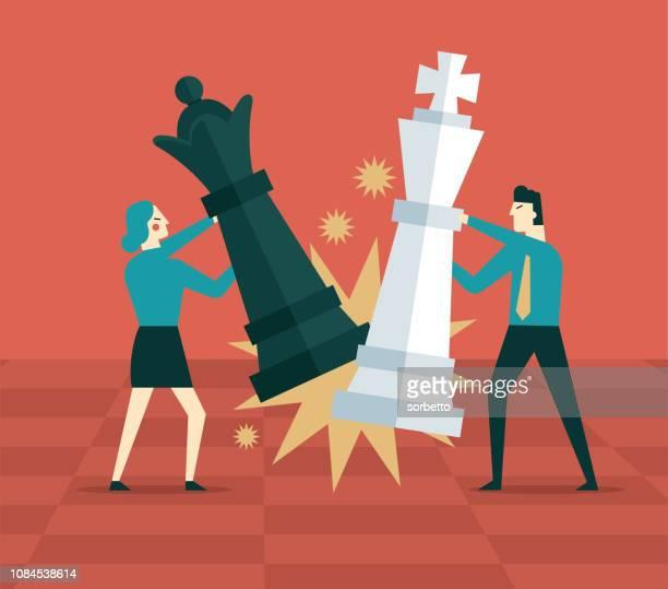 ilustraciones, imágenes clip art, dibujos animados e iconos de stock de gente de negocios negocio estrategia - competición- - tablero de ajedrez