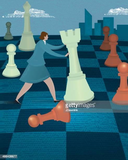 ビジネス戦略のコンセプトの実業家でチェスボード、チェスの駒 - チェス点のイラスト素材/クリップアート素材/マンガ素材/アイコン素材
