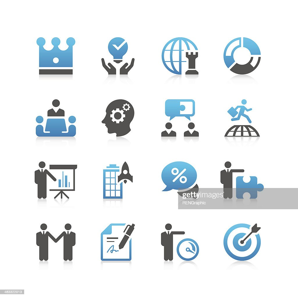 Pricing Strategy Icon: Business Strategy Icon Set Concise Series Vector Art