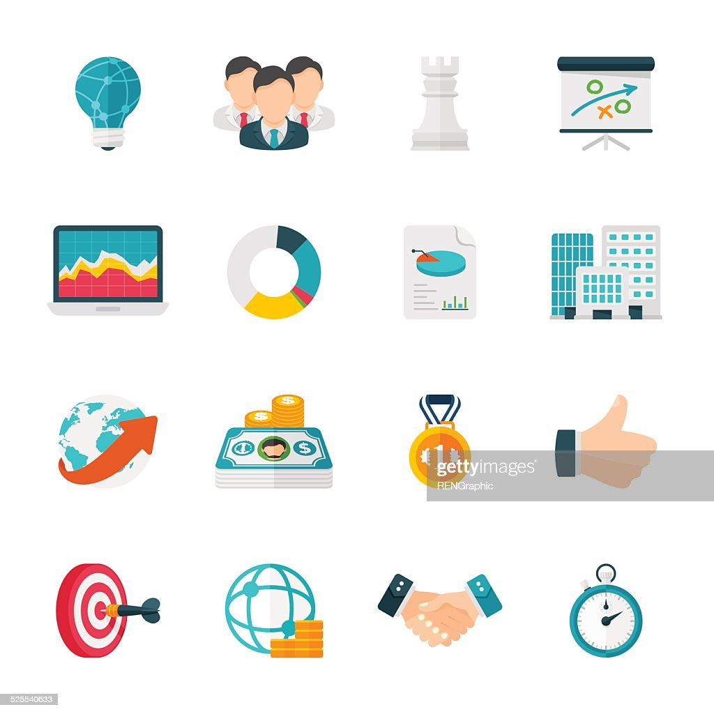 Pricing Strategy Icon: Business Strategy Icon Set Flat Design Icons Vector Art