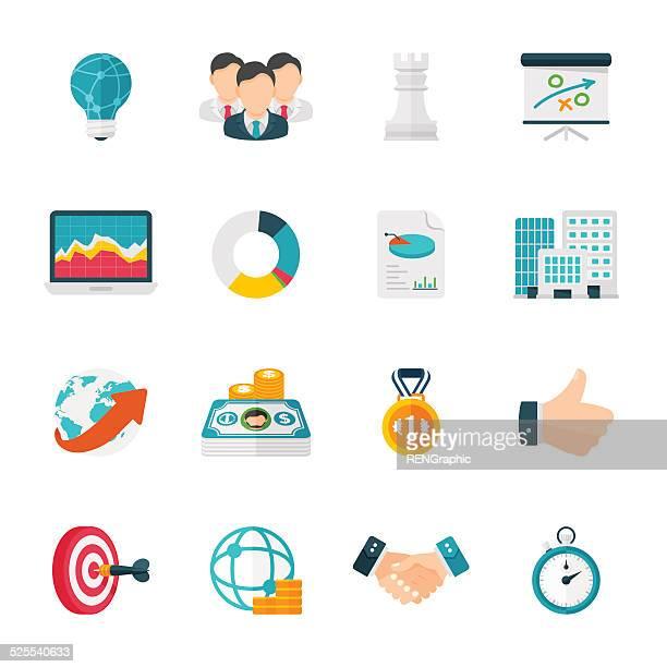 Stratégie d'affaires Ensemble d'icônes Design plat Icônes /