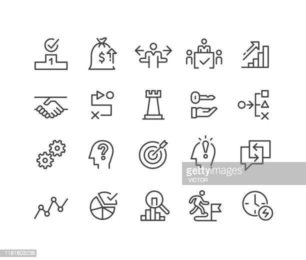 illustrazioni stock, clip art, cartoni animati e icone di tendenza di icone della strategia aziendale - serie linea classica - reggere
