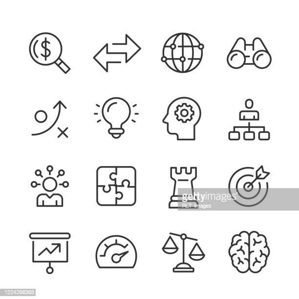 stockillustraties, clipart, cartoons en iconen met business strategy icons — monoline series - beslissingen