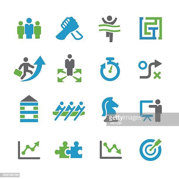 business strategy icons set - spry series - liniendiagramm stock-grafiken, -clipart, -cartoons und -symbole