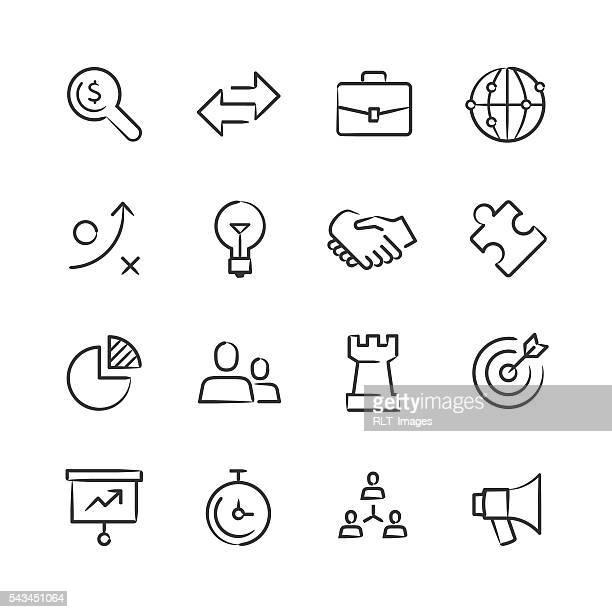 ilustraciones, imágenes clip art, dibujos animados e iconos de stock de estrategia de negocios serie iconos - esbozos - torre pieza de ajedrez