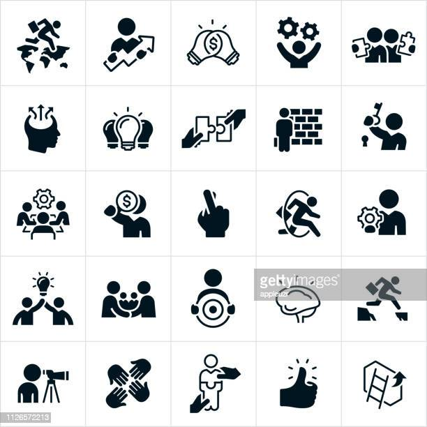 business strategy icons - wall building feature stock illustrations