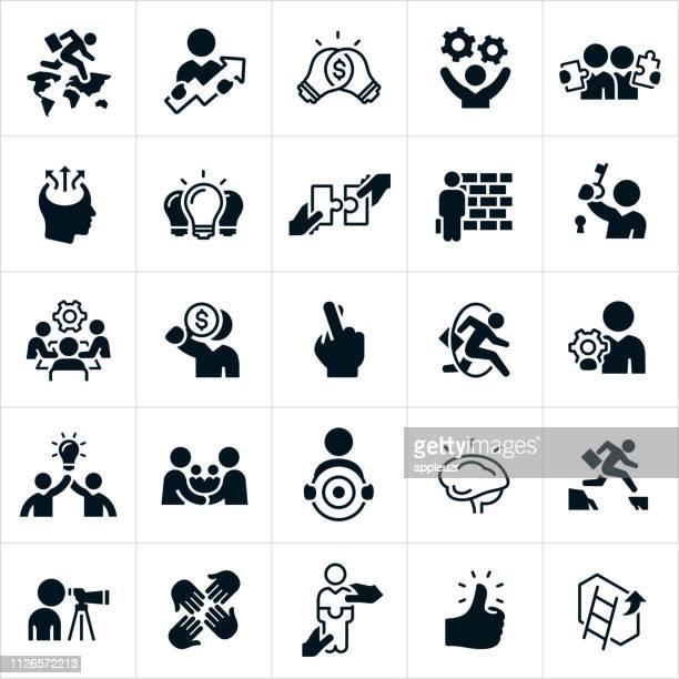ilustrações, clipart, desenhos animados e ícones de ícones de estratégia de negócios - estabelecer uma ponte