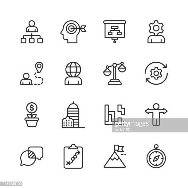 ビジネス戦略ラインのアイコン。編集可能なストローク。ピクセルパーフェクト。モバイルとウェブのために。ブレーンストーミング、事業戦略、ビジネスコンサルティング、コミュニケー� - サイズ点のイラスト素材/クリップアート素材/マンガ素材/アイコン素材