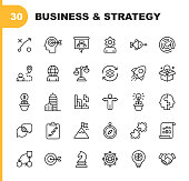 Business Strategy Line Icons. Editable Stroke. Pixel Perfect. For Mobile and Web. Contains such icons as Brainstorming, Bussiness Strategy, Business Consulting, Communication, Corporate Development.