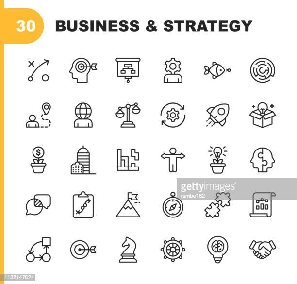 stockillustraties, clipart, cartoons en iconen met business strategy lijn iconen. bewerkbare lijn. pixel perfect. voor mobiel en web. bevat iconen als brainstormen, bedrijfsstrategie, business consulting, communicatie, corporate development. - strategie