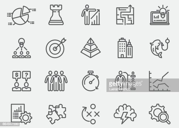 business & strategy line icons | eps 10 - strategy stock illustrations, clip art, cartoons, & icons