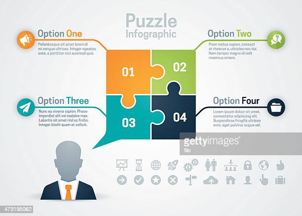 business strategy puzzle infographic - jigsaw piece stock illustrations, clip art, cartoons, & icons