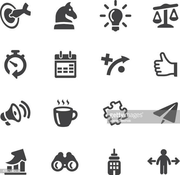 Ícones de estratégia de negócios de Silhueta