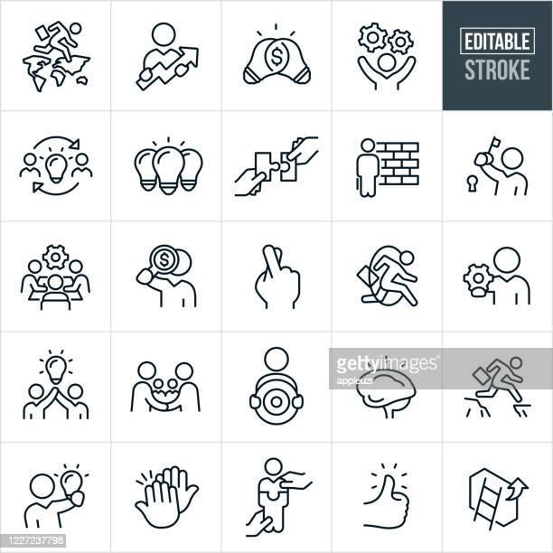 illustrazioni stock, clip art, cartoni animati e icone di tendenza di business strategy thin line icons - editable stroke - strategia d'impresa