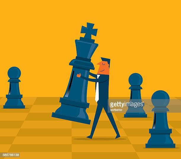 ilustraciones, imágenes clip art, dibujos animados e iconos de stock de estrategia de negocio - tablero de ajedrez