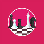 Business strategy with chess figures on a chess board