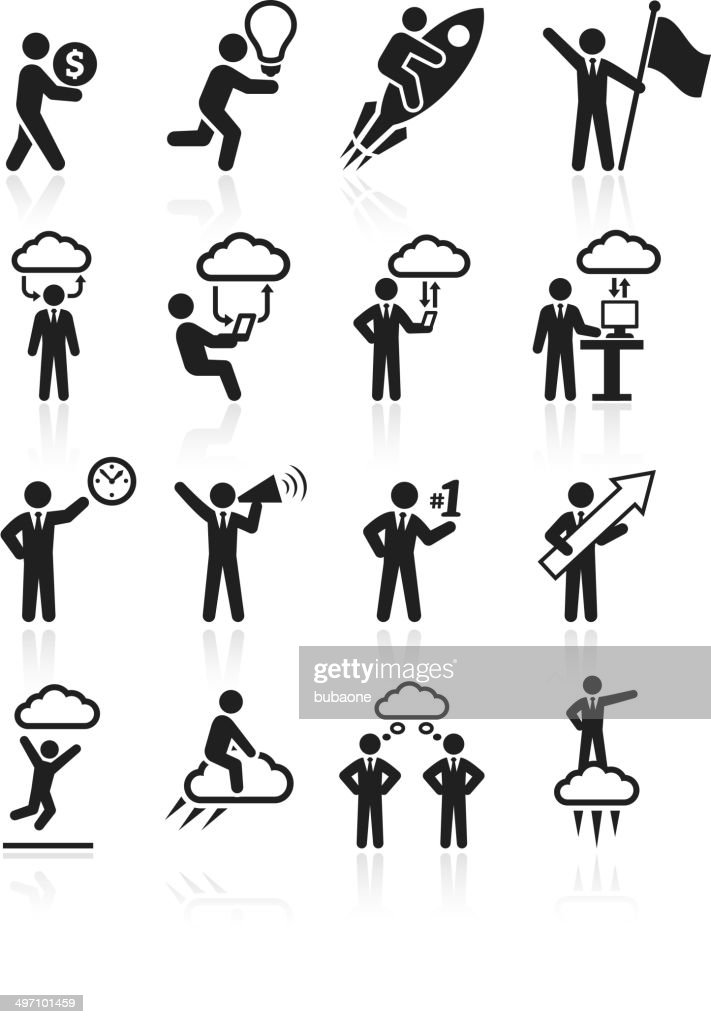Business success and achievement royalty free vector interface icon set : stock illustration